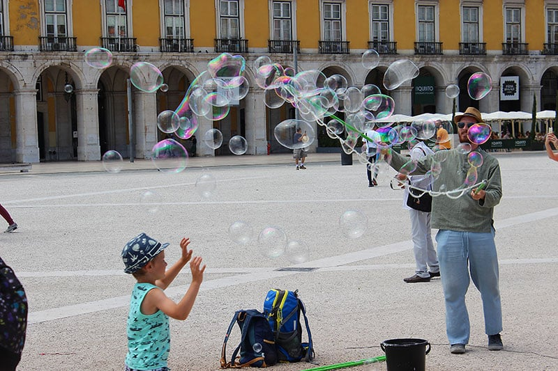 Man Blowing Bubbles