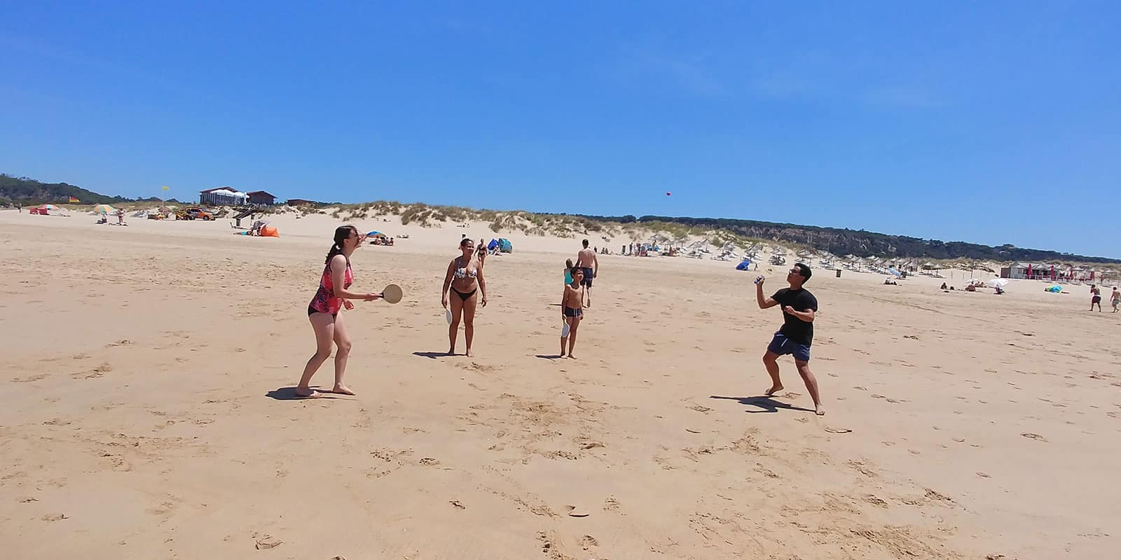 We play a little paddle ball